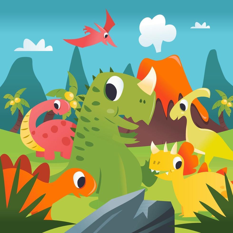Super Cute Cartoon T-rex Dinosaurs Prehistoric Scene vector