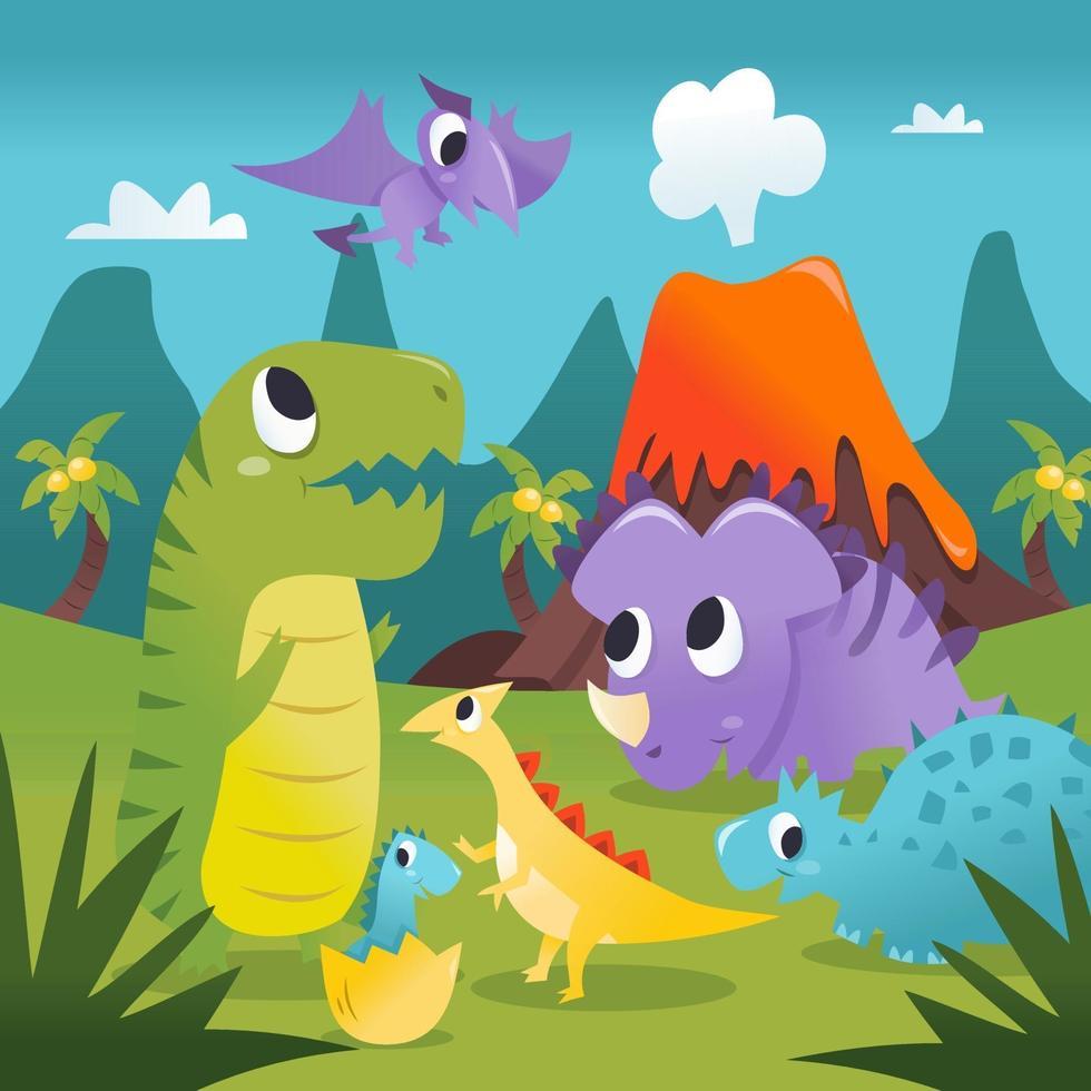 Super Cute Cartoon Dinosaurs Prehistoric Scene vector