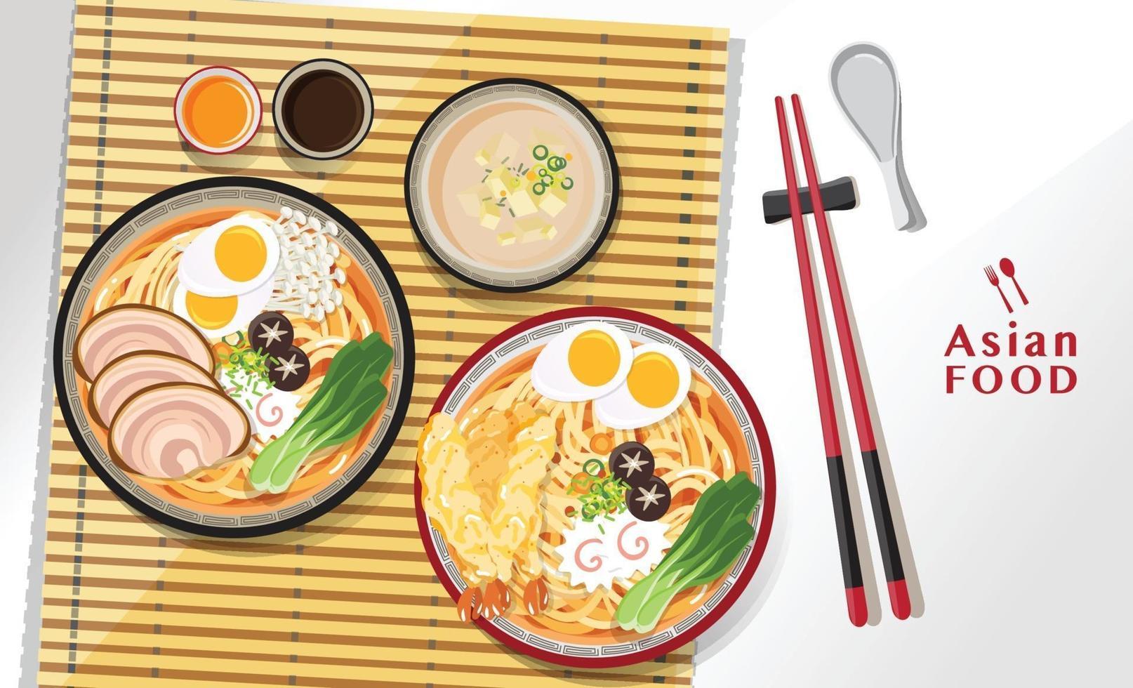 Japanese ramen noodle dish asian food design vector