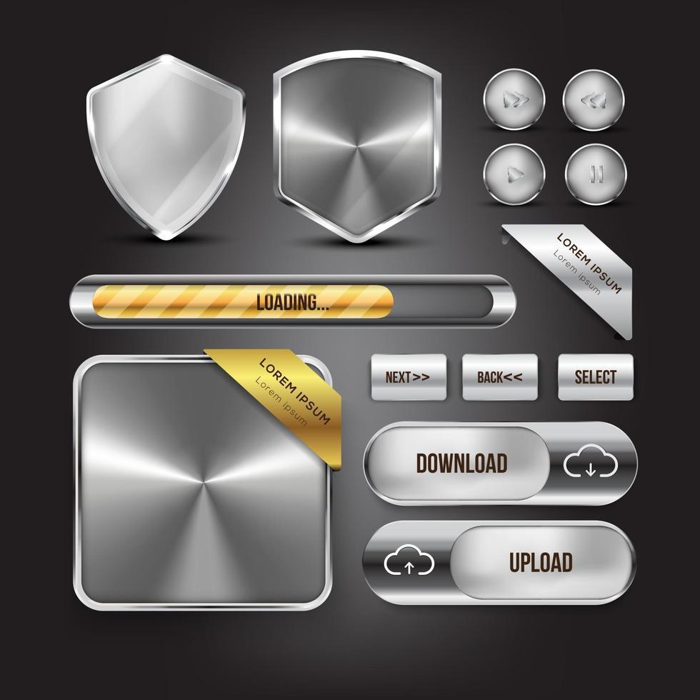 Silver button web set vector