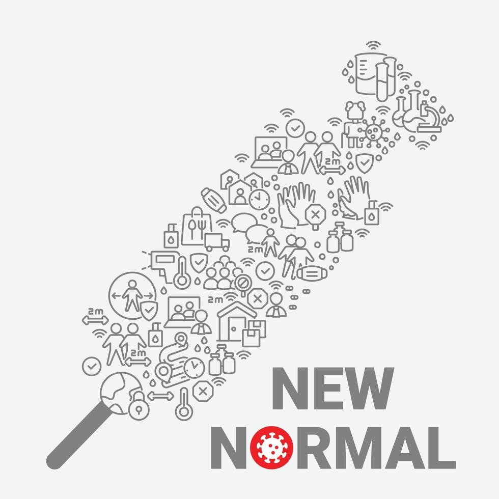 New Normal art, iconic syringe art contains activities after pandemic covid-19 era, contains all activities such as avoid crowd, social distancing, work from home, online meeting, etc, vector illustration