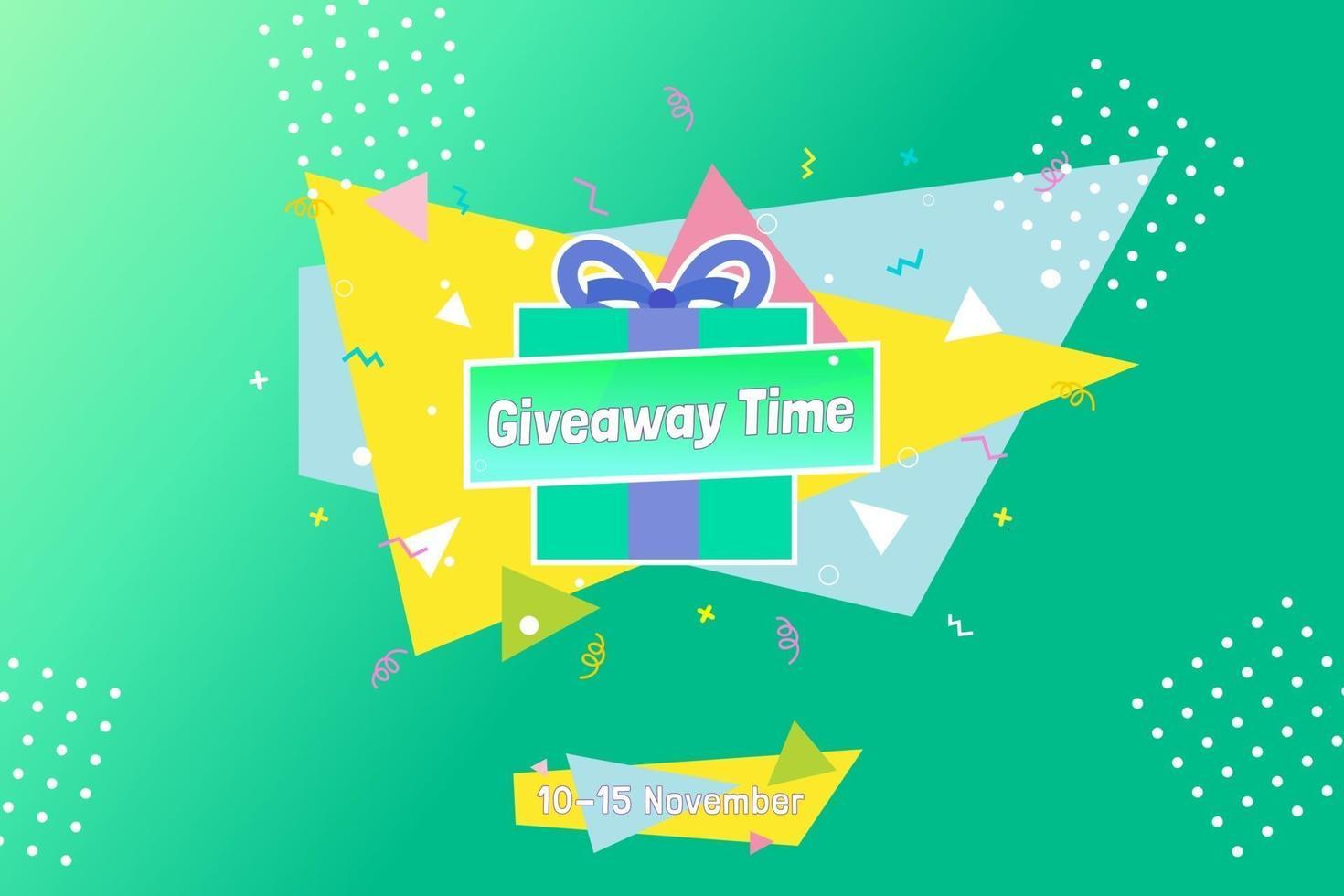 Giveaway template design for social media post vector