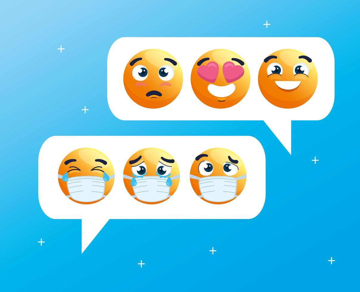 Emojis wearing face masks on speech bubbles vector