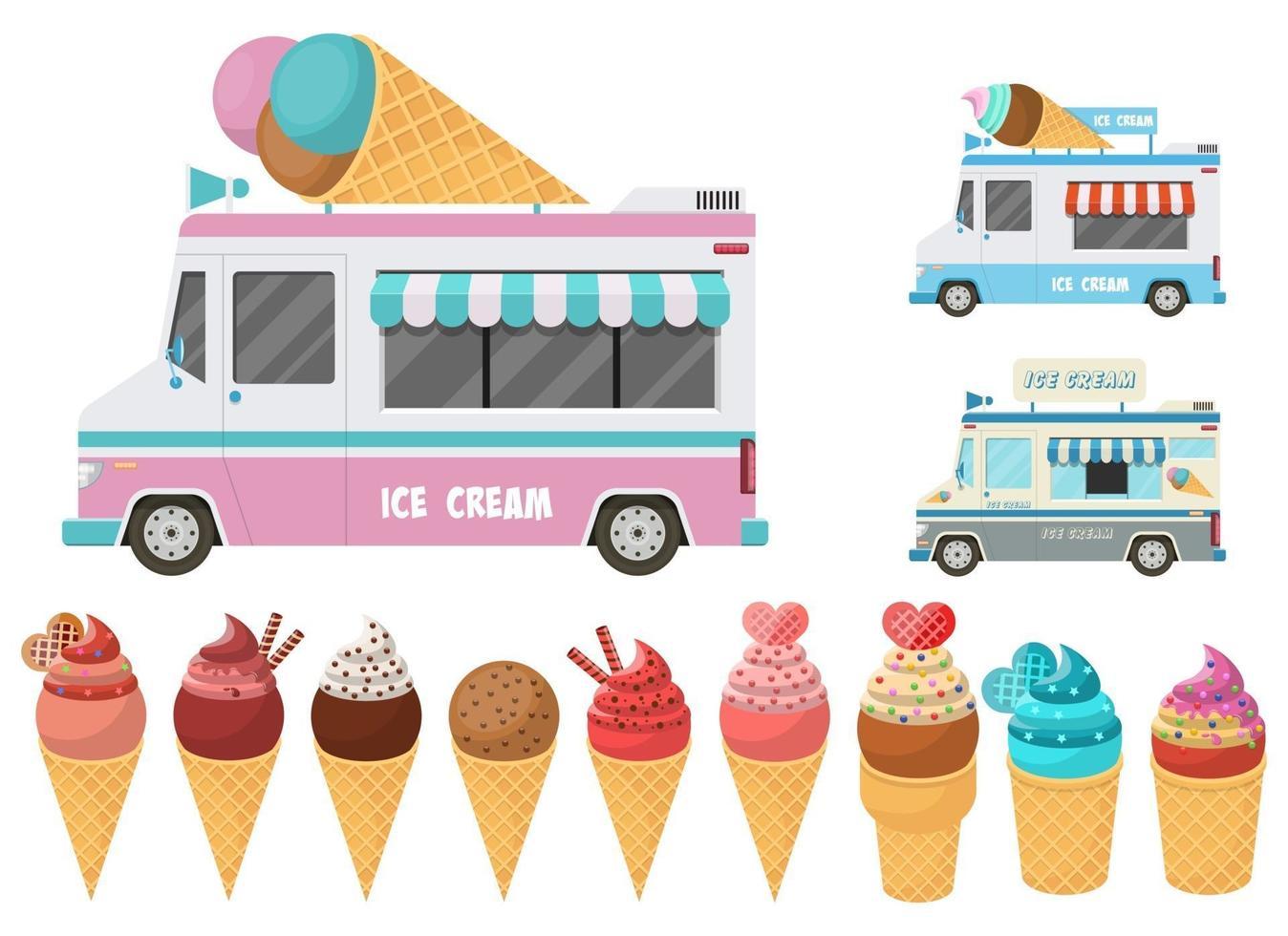 Cone ice cream and ice cream car set vector