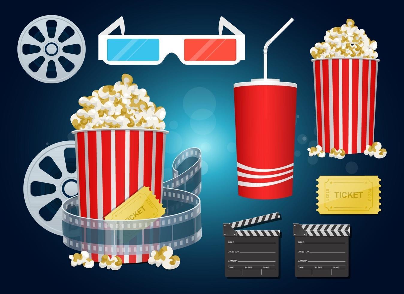 Movie time set vector design illustration set isolated on background