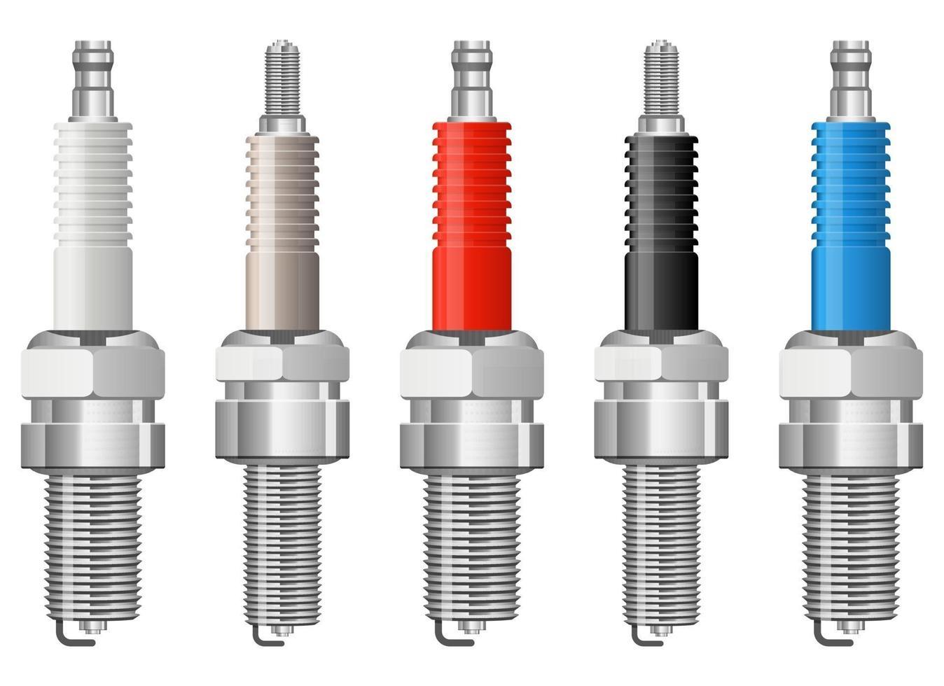 Spark plug vector design illustration set isolated on white background