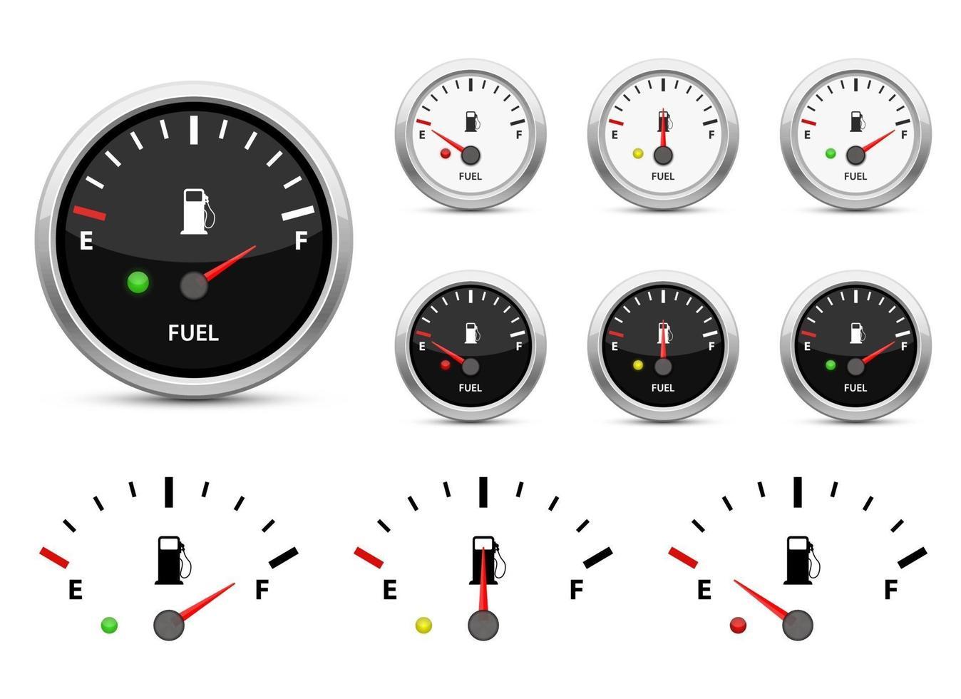 Fuel gauge vector design illustration set isolated on white background