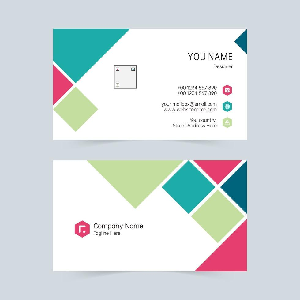 empresa tarjeta de visita geométrica azul, rosa, verde vector