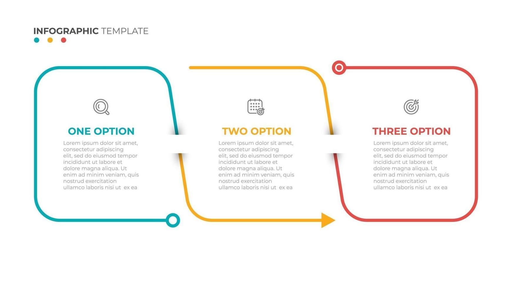 Thin line flat info graphic design elements and number options.Time line with 3 options, steps or process. vector
