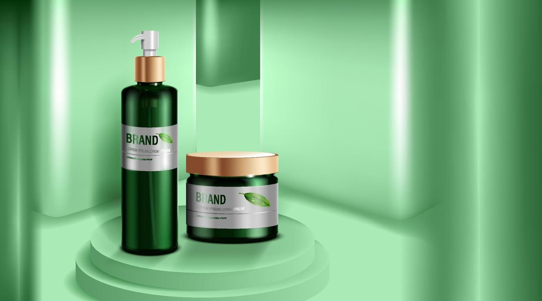 Cosmetics or skincare product. Green bottle Mockup and green wall background. vector illustration.