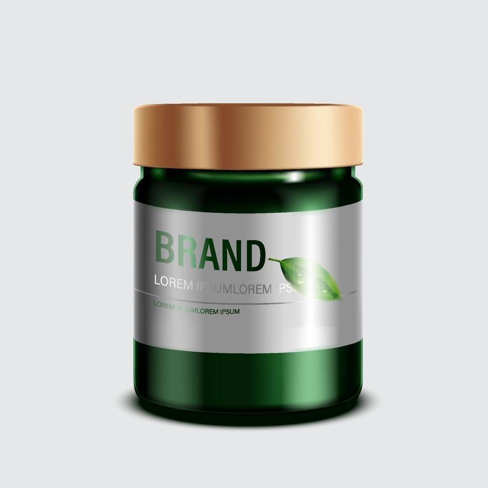 Cosmetics or skincare product. Green bottle Mockup and isolated white background. vector illustration.