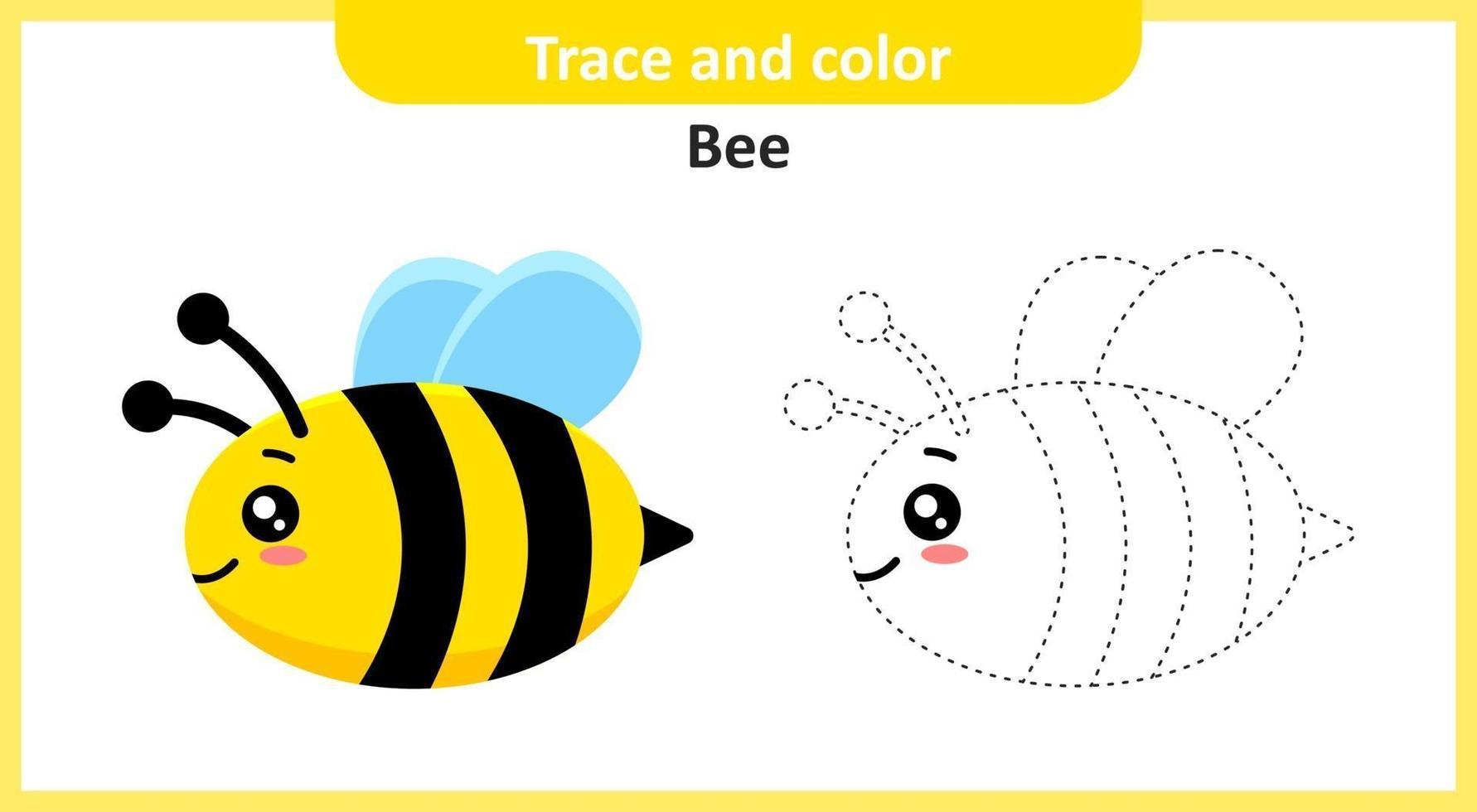 abeja traza y color vector