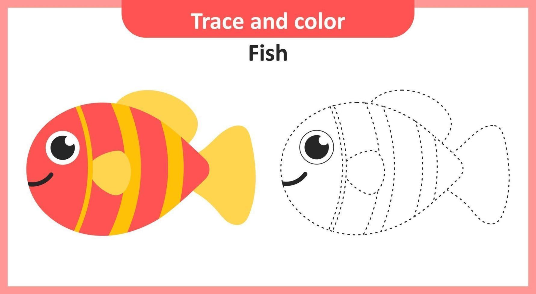 rastrear y colorear peces vector