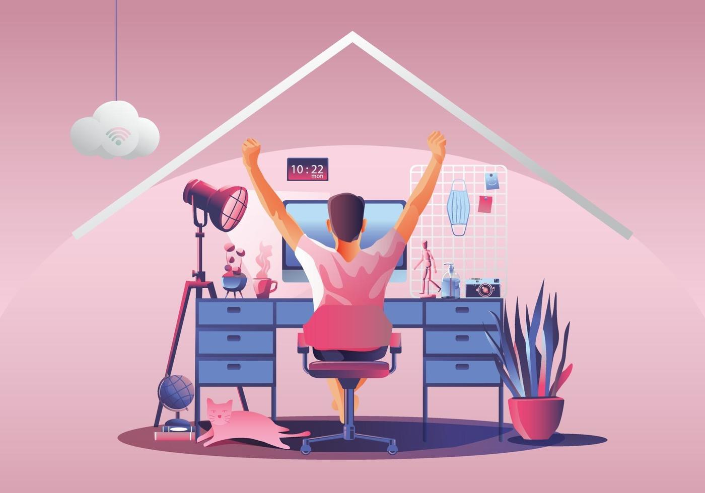 Work from home concept, Young man freelancers working on laptops at home. People at home in quarantine. Pink background Back view, Staying at home vector illustration. Flat Design character