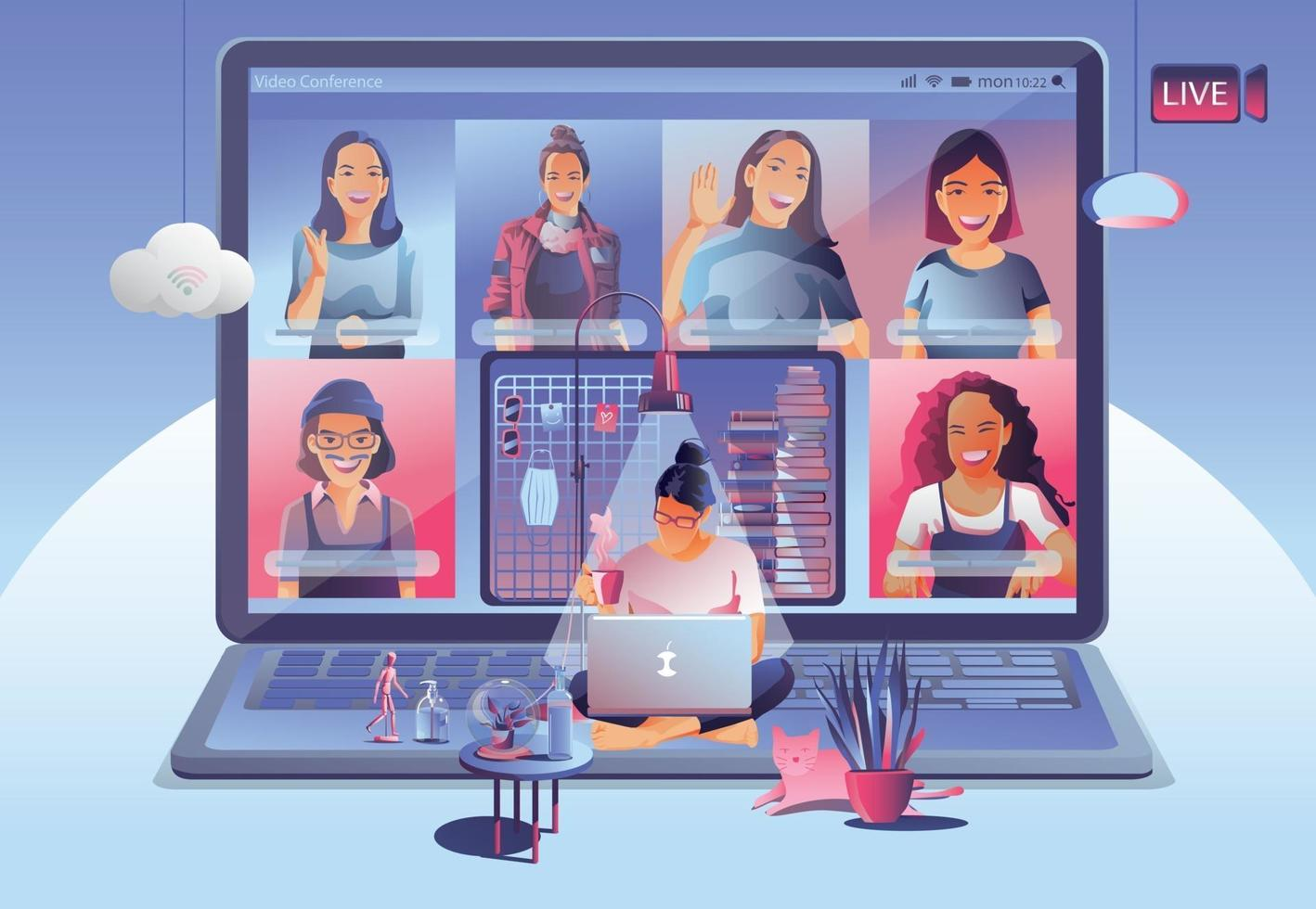 Video conference landing. People on computer screen taking with colleagues. Videoconferencing and online meeting workspace vector page man and woman. self-quarantine to prevent from COVID -19 vector
