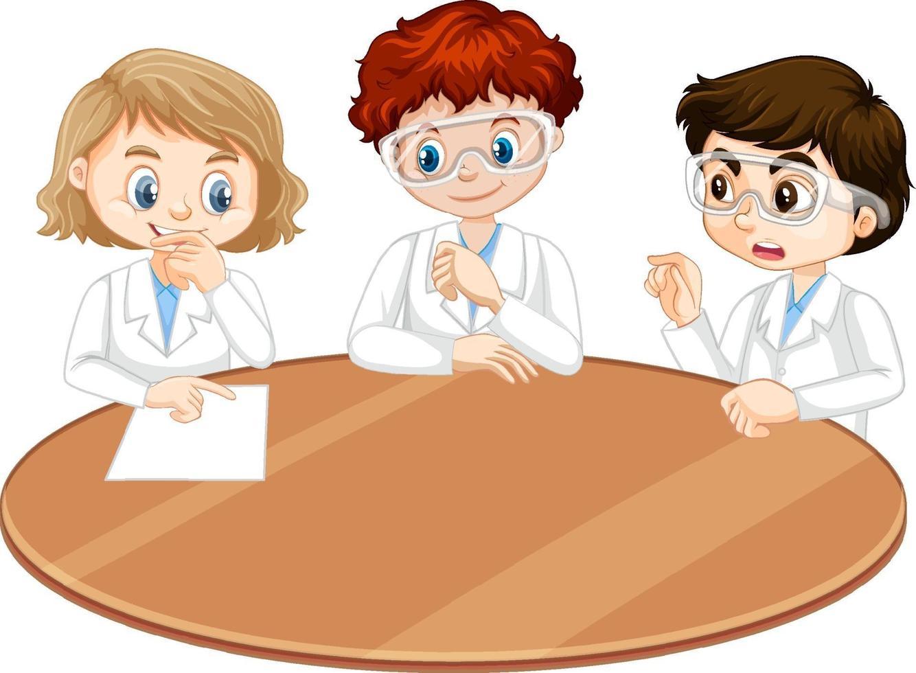 tres jóvenes científicos hablando entre sí vector
