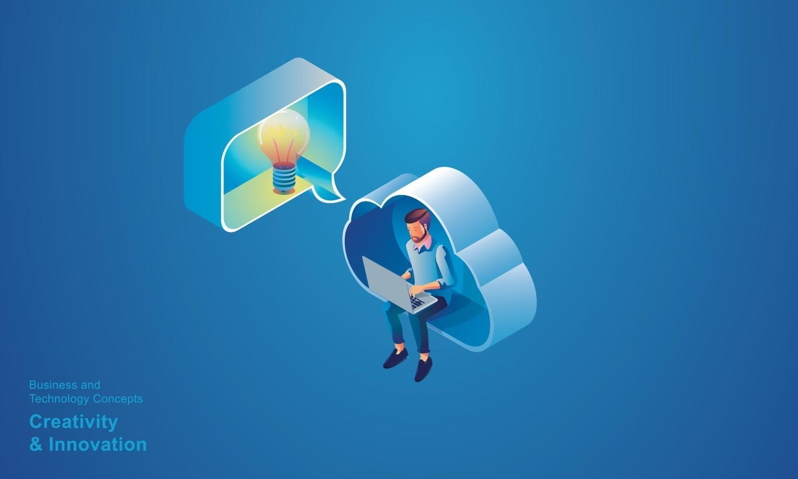 Business people sitting in CLOUD Technology, creativity and innovation optimization and business process workflow development, with the network Online devices data Isometric concept vector design