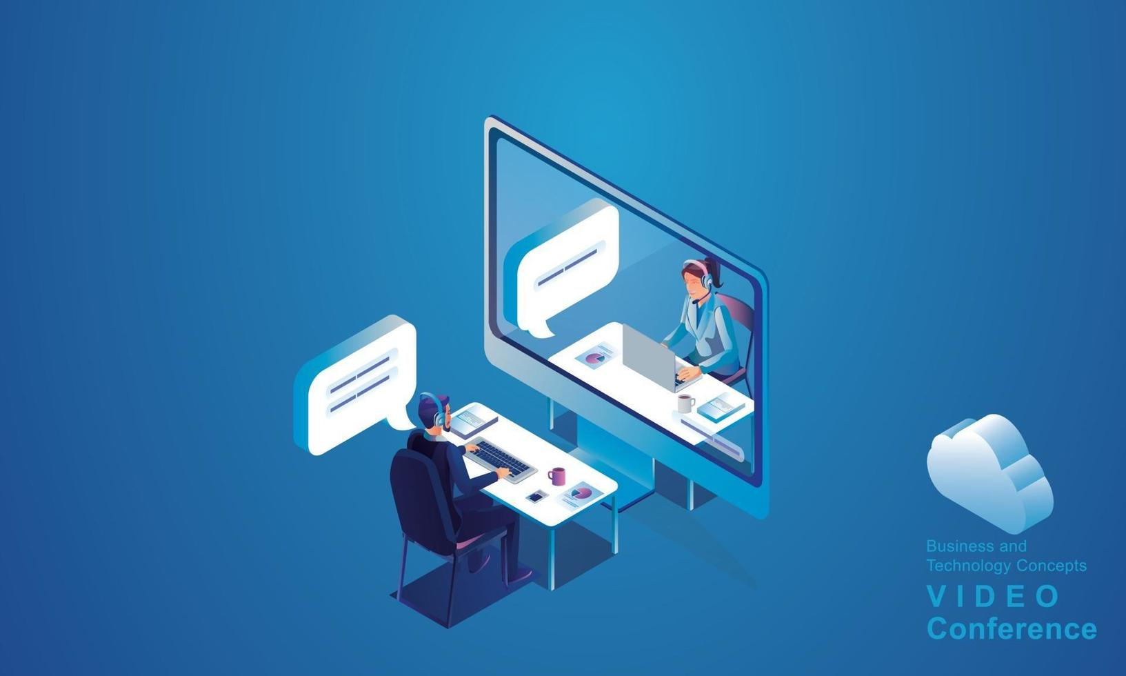 Businessmen use Video conference landing Working top view People on window screen taking with colleagues. remote working Videoconferencing and online meeting workspace page man woman learning Vector