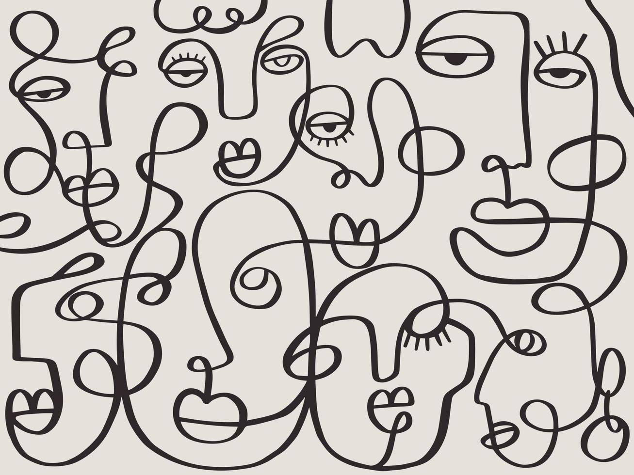 One line drawing abstract face abstract pattern. Modern minimalism art, aesthetic contour. Continuous line background with woman and man faces. Wall poster decor vector
