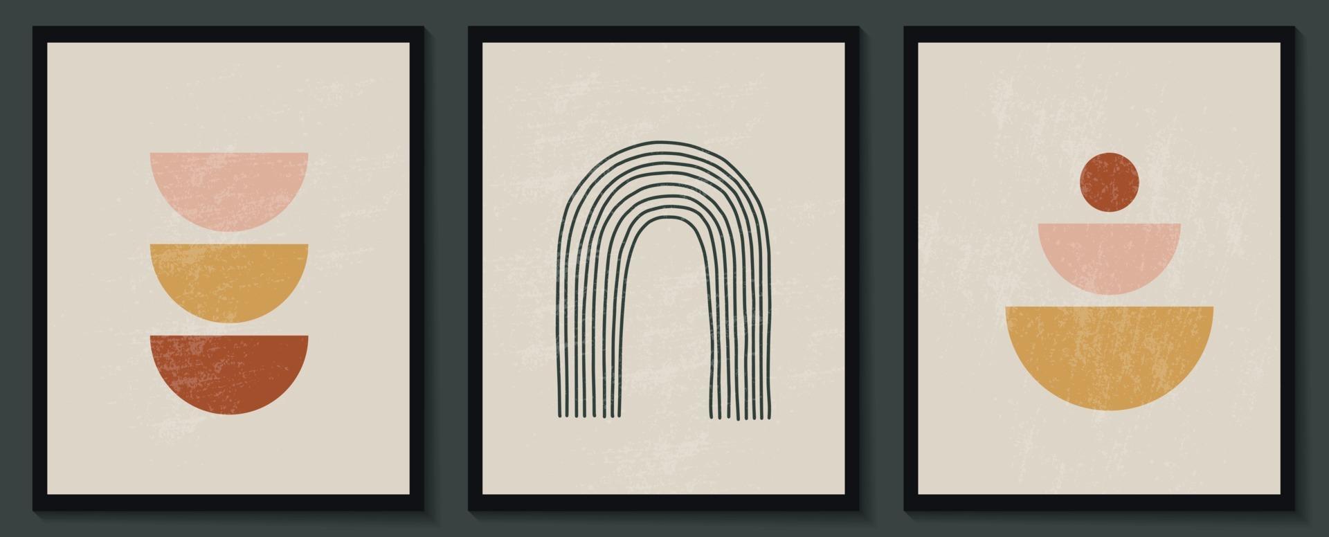 moderno conjunto contemporáneo de composición artística pintada a mano minimalista geométrica creativa abstracta. carteles vectoriales para decoración de paredes en estilo vintage vector
