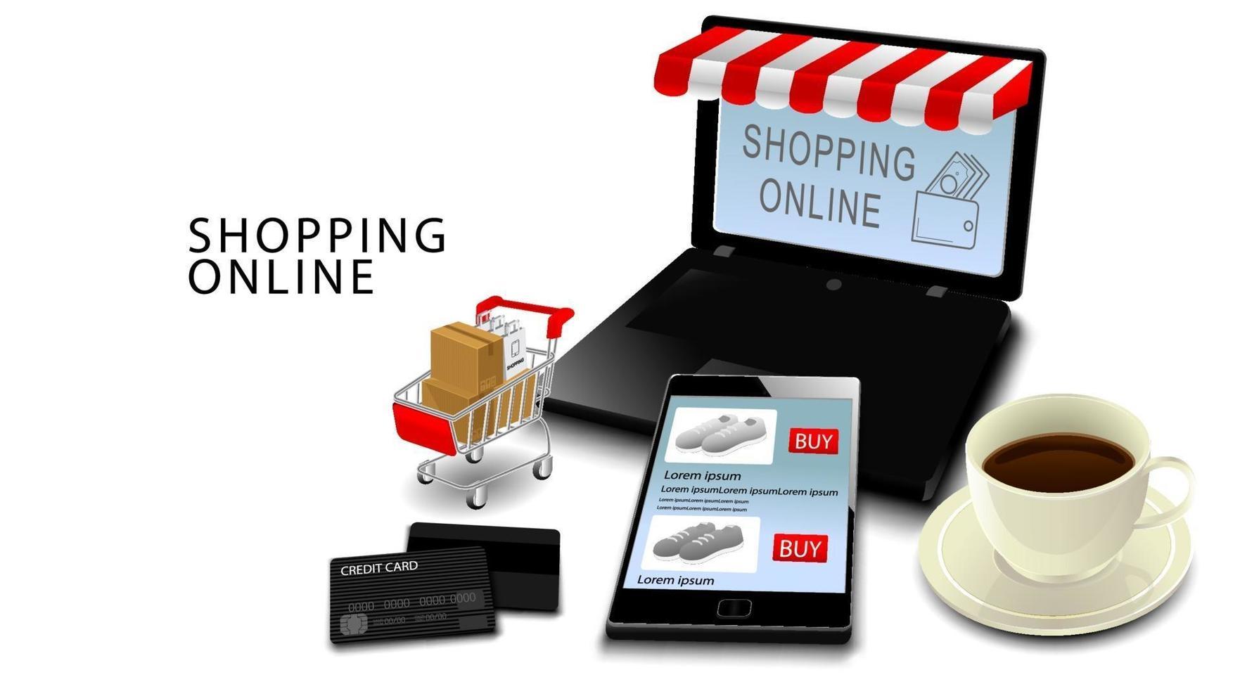 Concepto de compras en línea, teléfono inteligente y computadora portátil con tarjetas de crédito, productos en carro con fondo blanco aislado vector