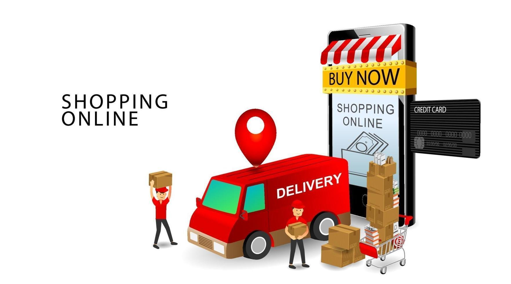 Concepto de compras en línea, trabajadores de entrega del equipo de servicios, teléfonos inteligentes y tarjetas de crédito, productos en el carro con fondo blanco aislado vector