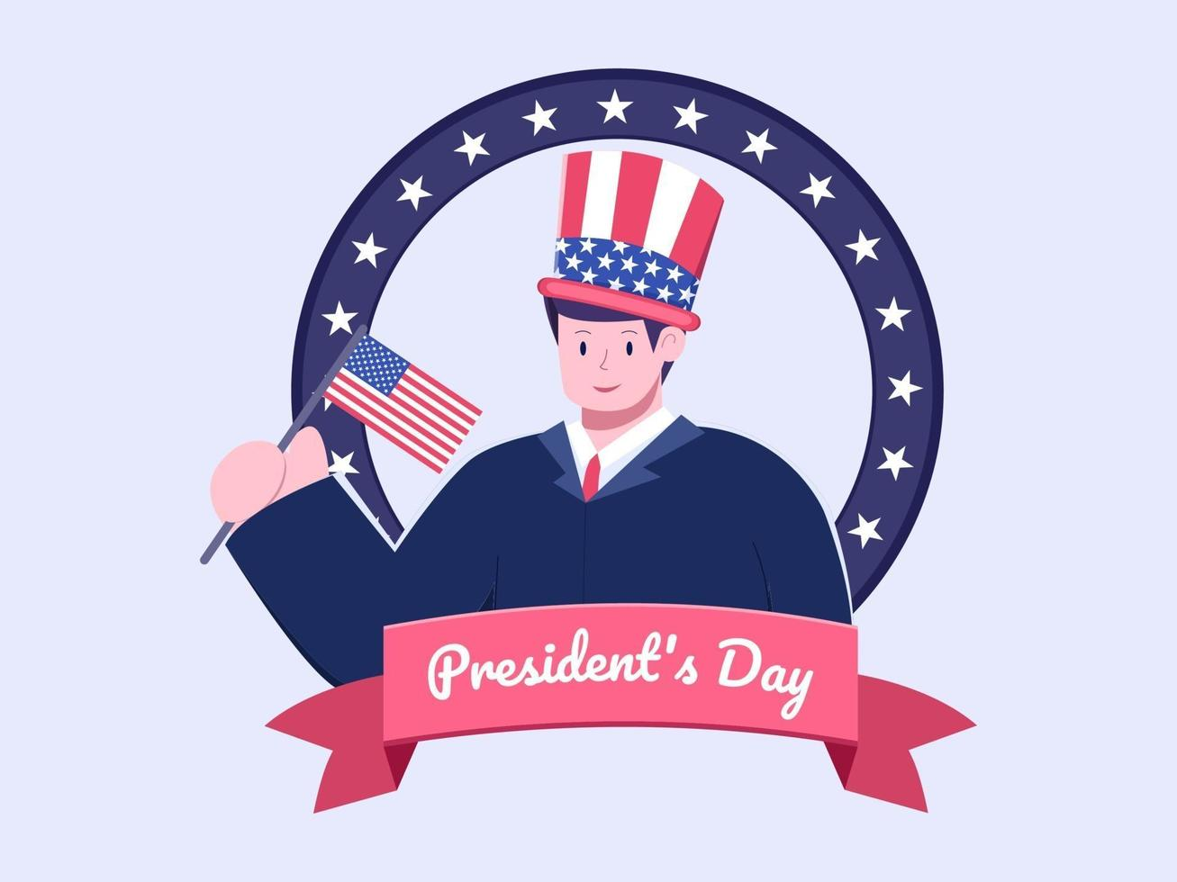 Flat illustration Happy President Day in USA or America vector