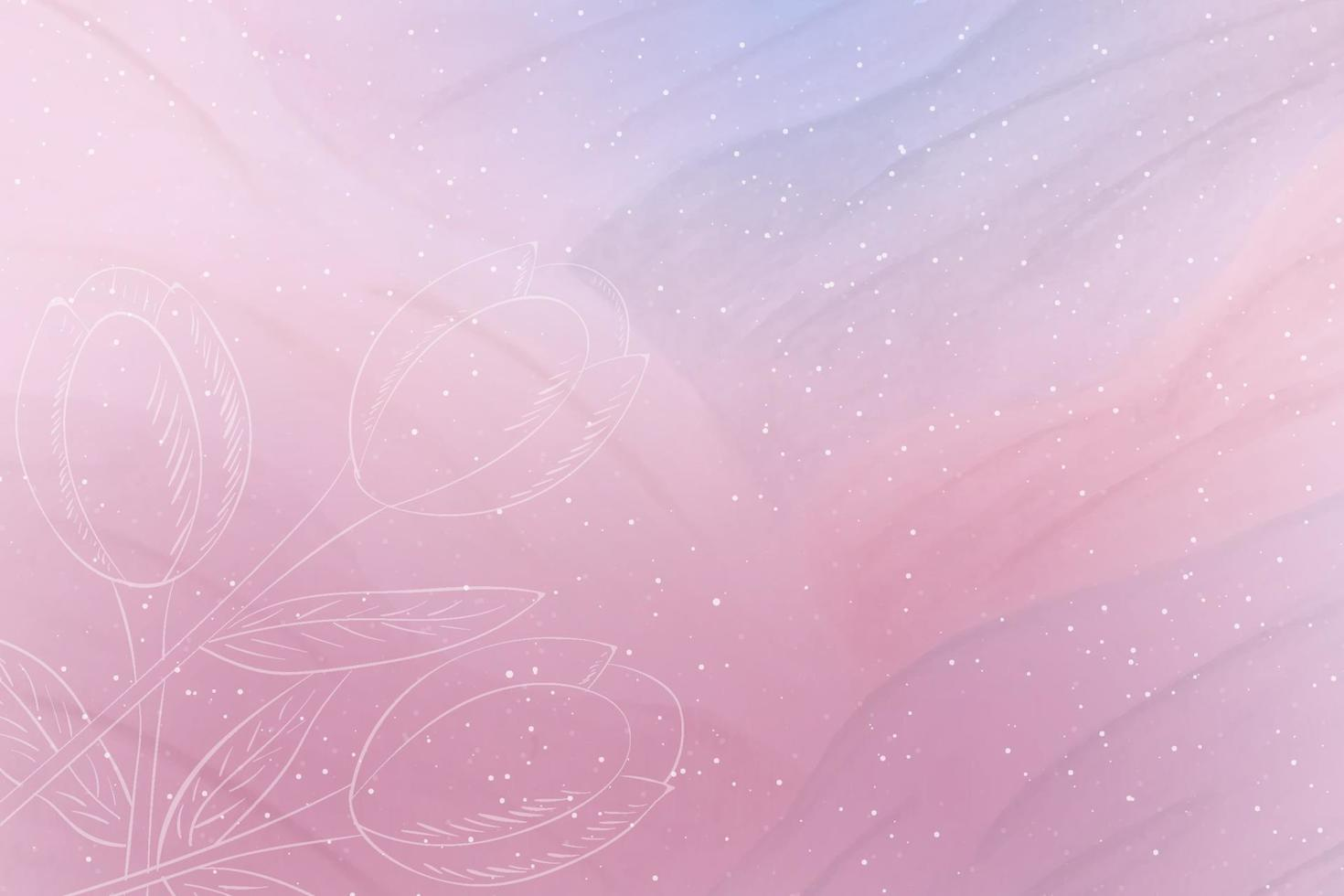 Pink abstract watercolor background with white tulips vector
