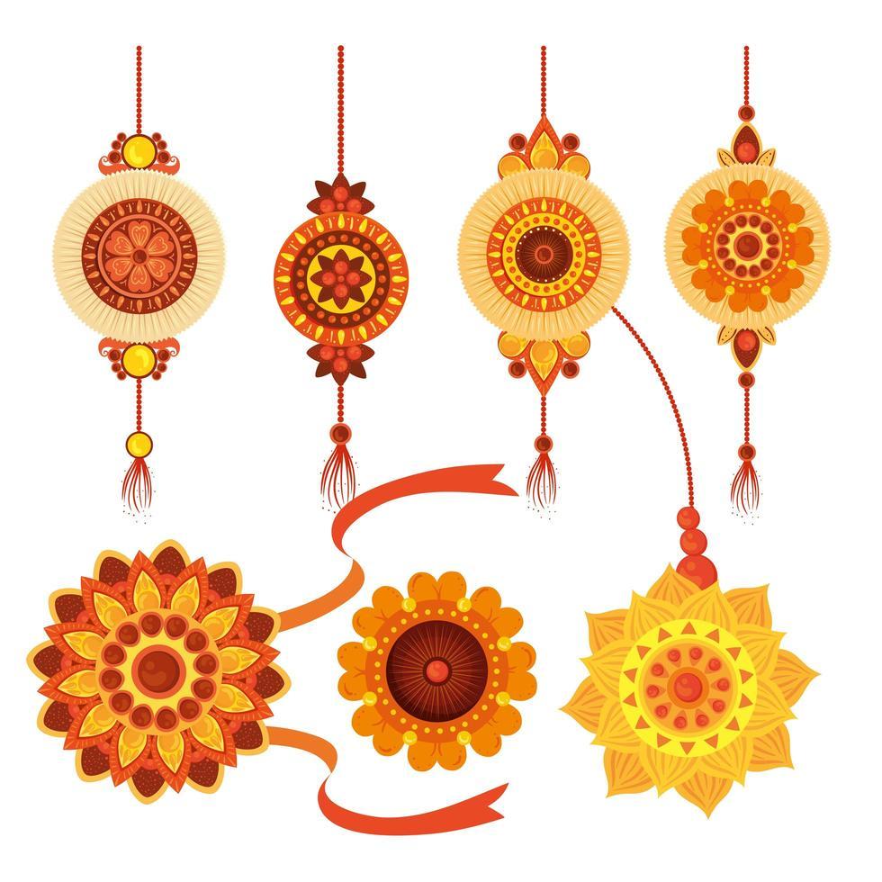 conjunto de rakhi, raksha bandhan, celebración hindú india festival cultura tradición vector