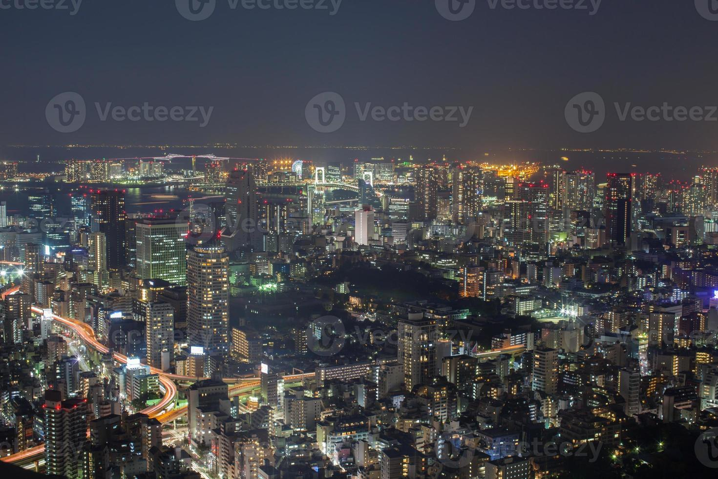 Colorful cityscape at night photo