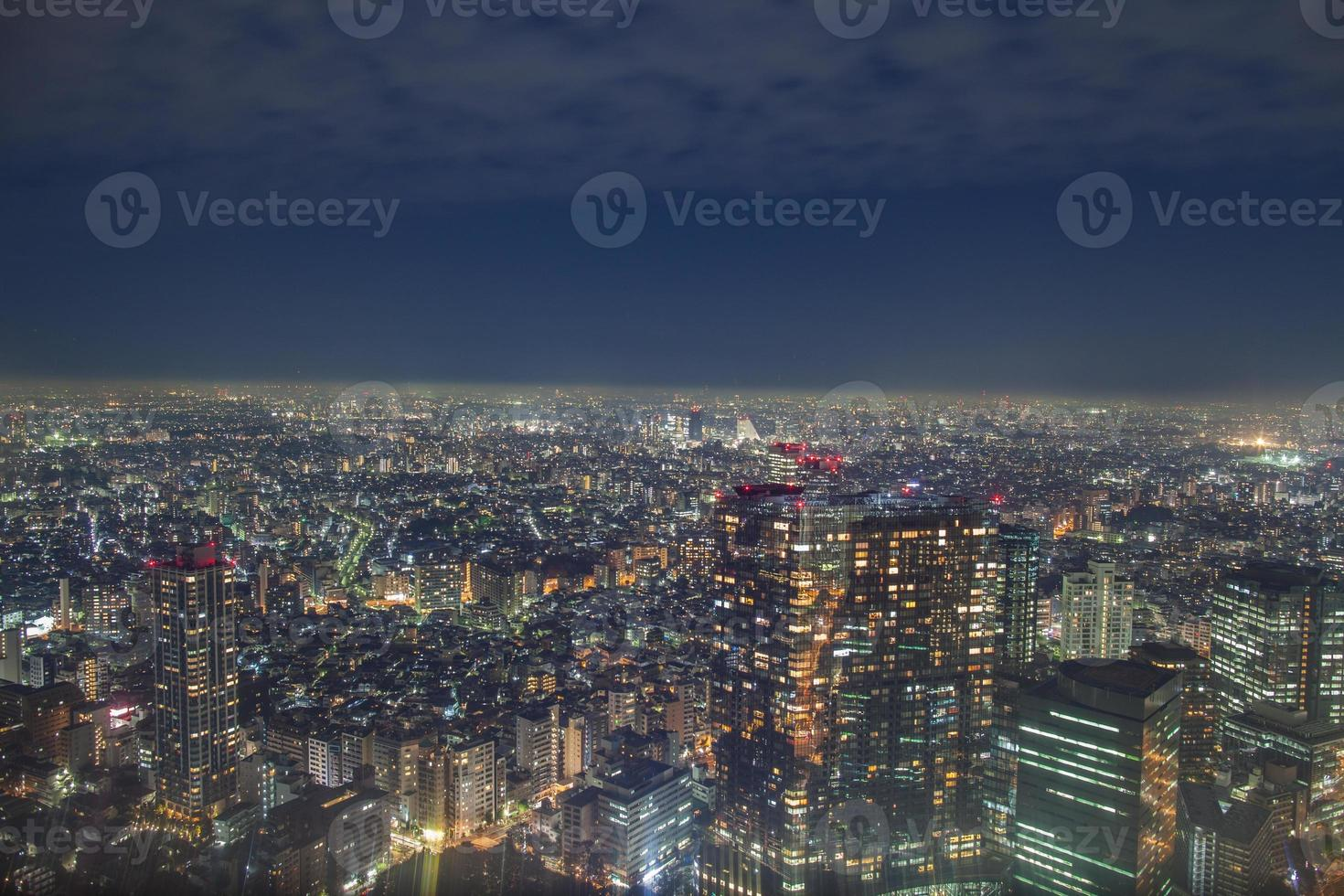 Nightscape view of a city photo