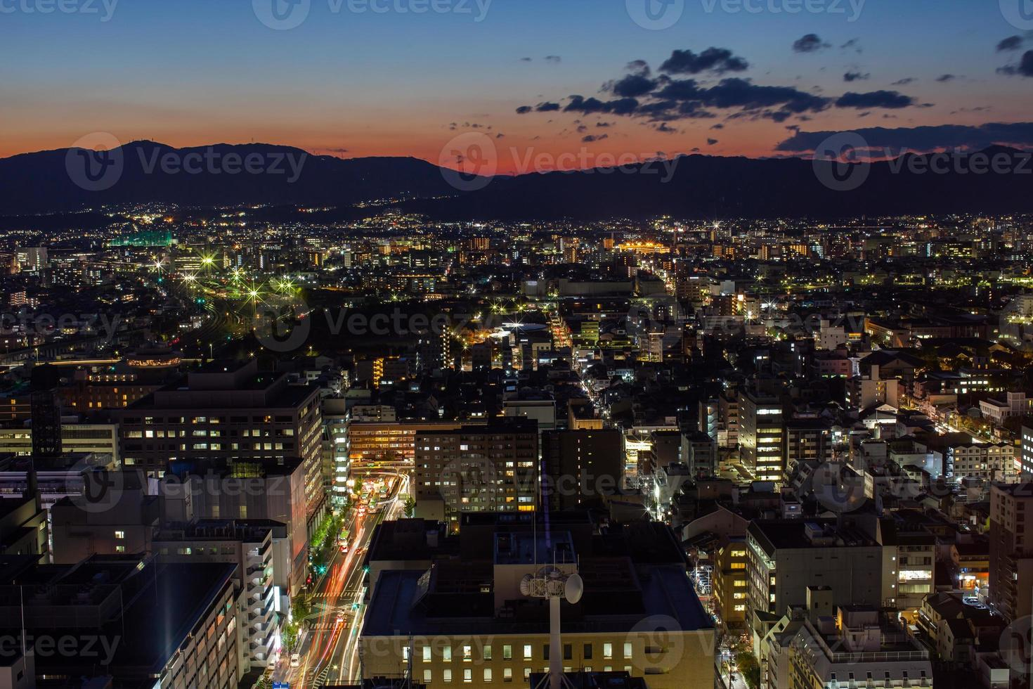 Aerial view of the city at sunset photo