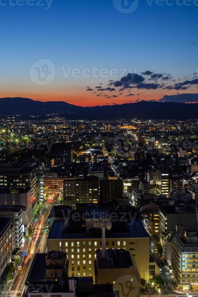 Aerial view of a city at night photo