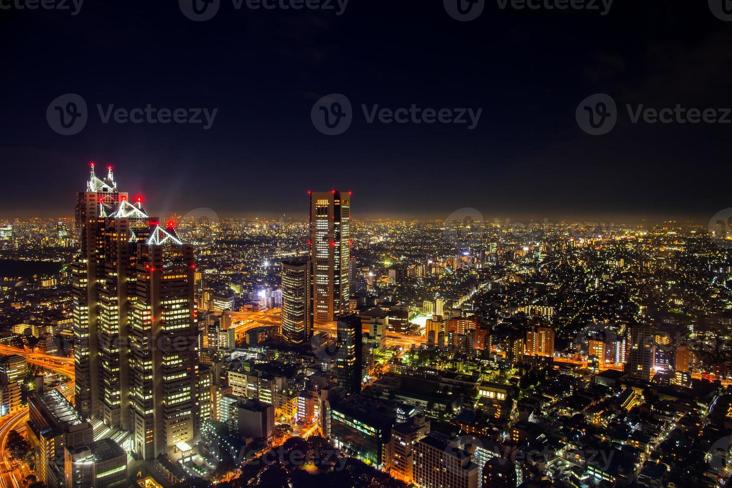 Aerial view of Tokyo at night photo