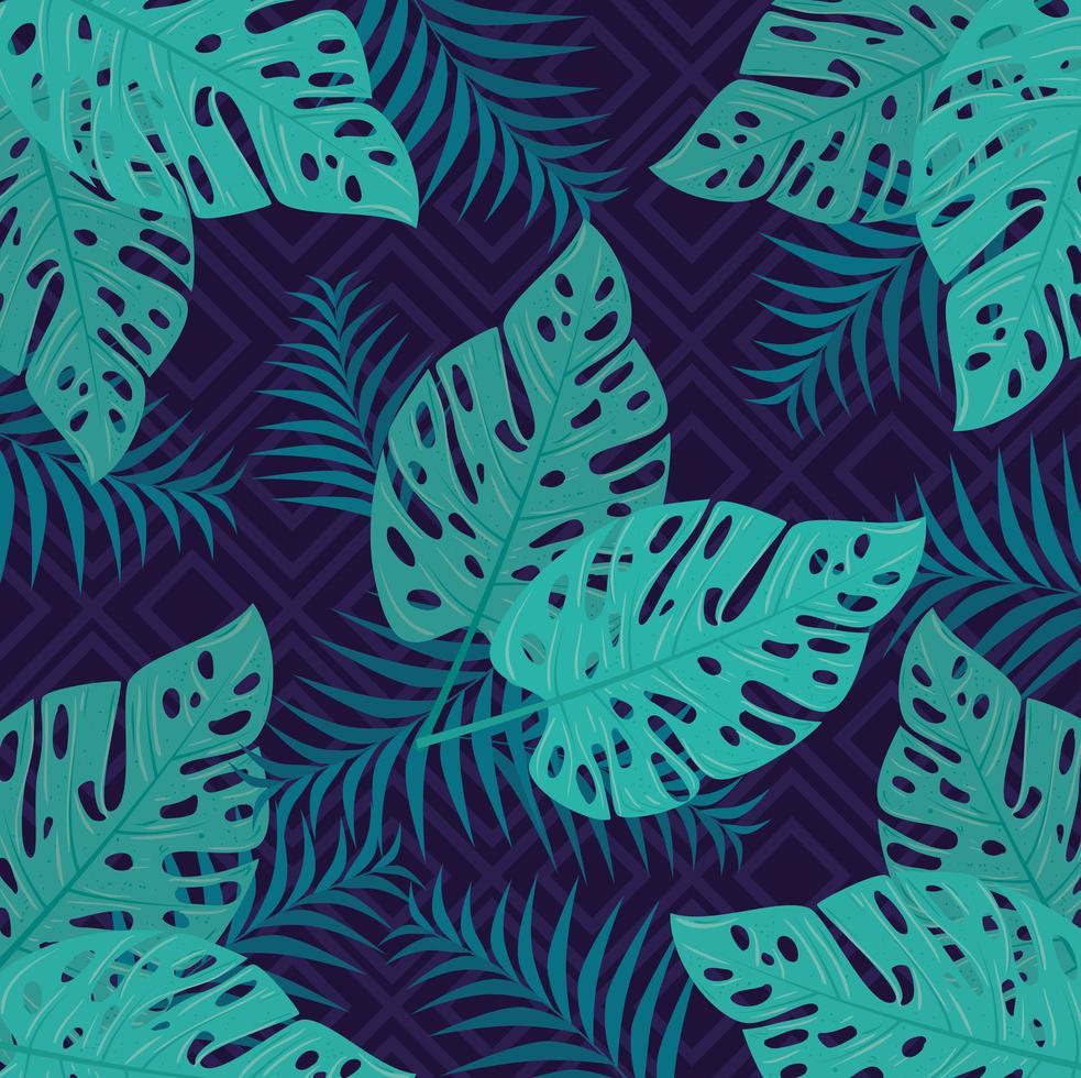 fondo de follaje tropical con hojas verdes vector