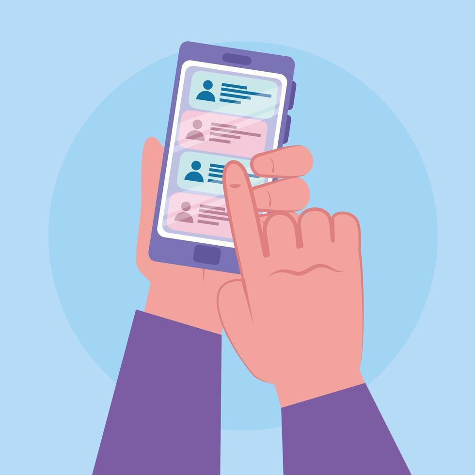 manos usando un teléfono inteligente, gente charlando en línea vector