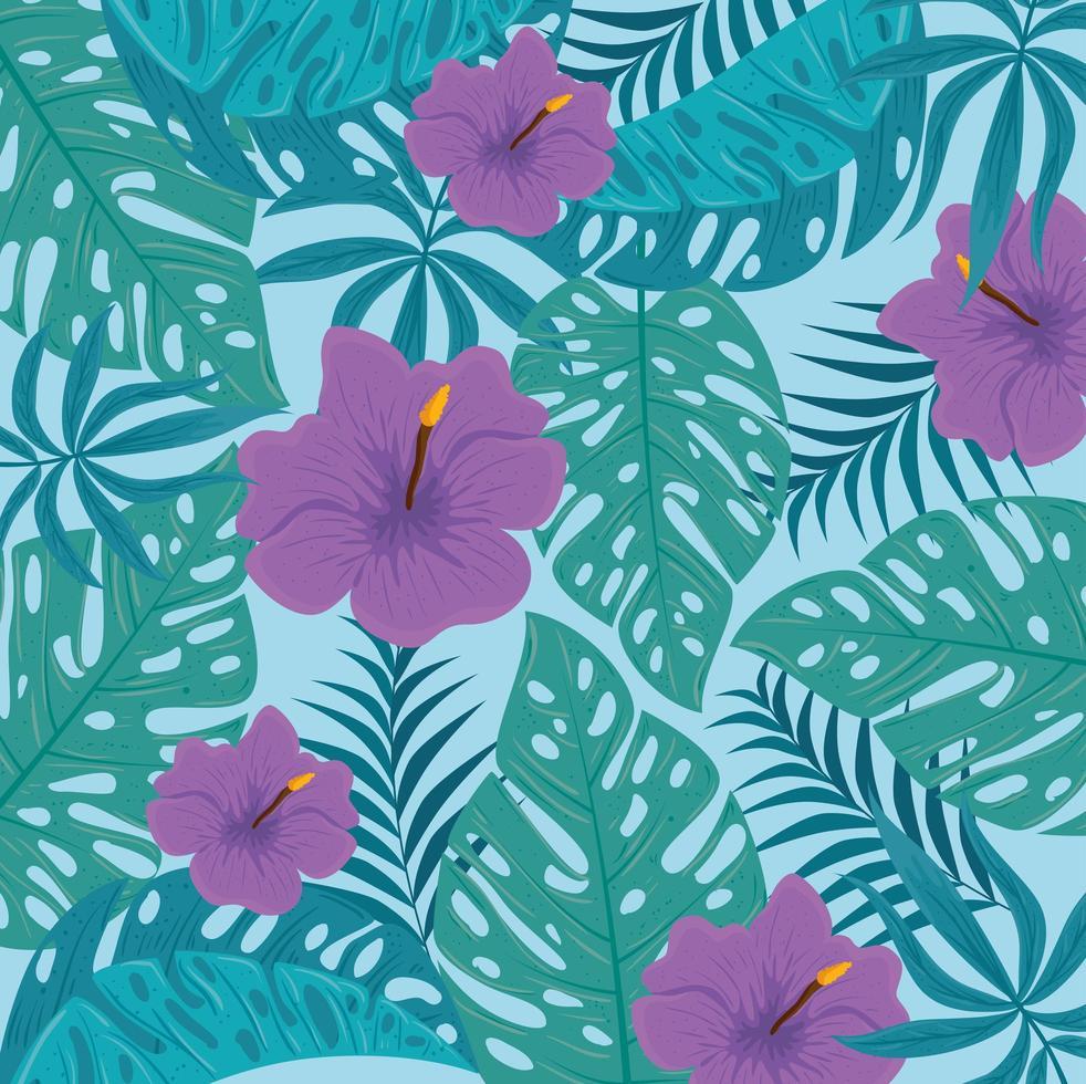 Fondo de follaje tropical con hojas verdes y flores de color púrpura. vector