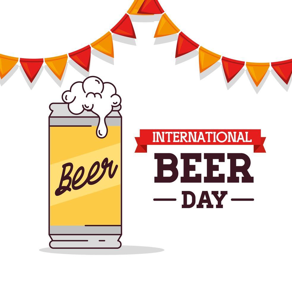 celebración del día internacional de la cerveza con lata de cerveza vector