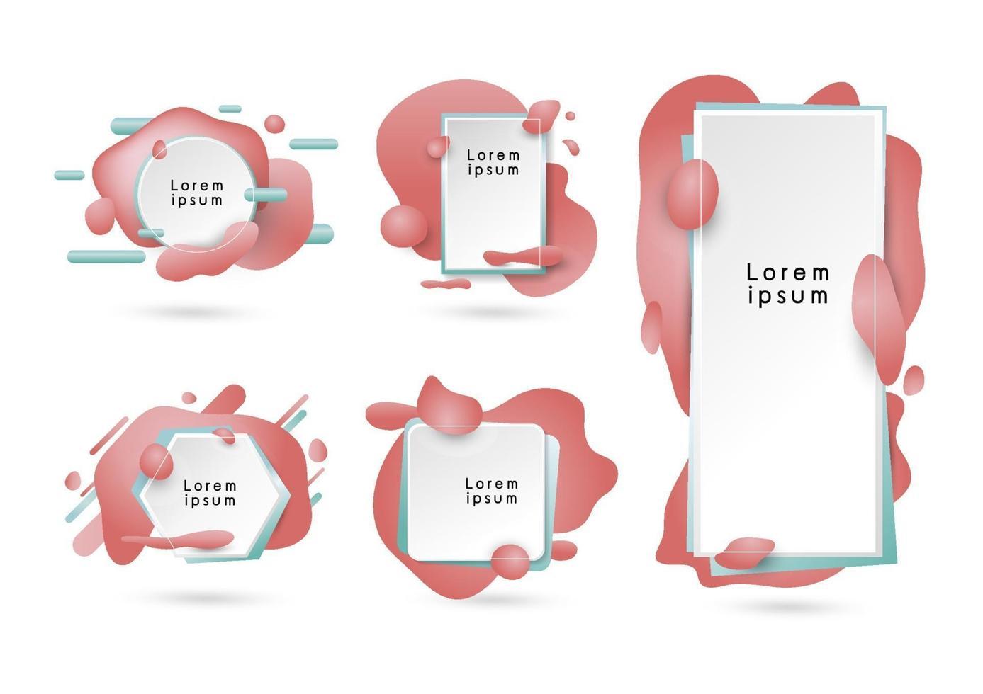 Diseño de fondo de banner moderno abstracto de ilustración de vector de color coral fluido 3d