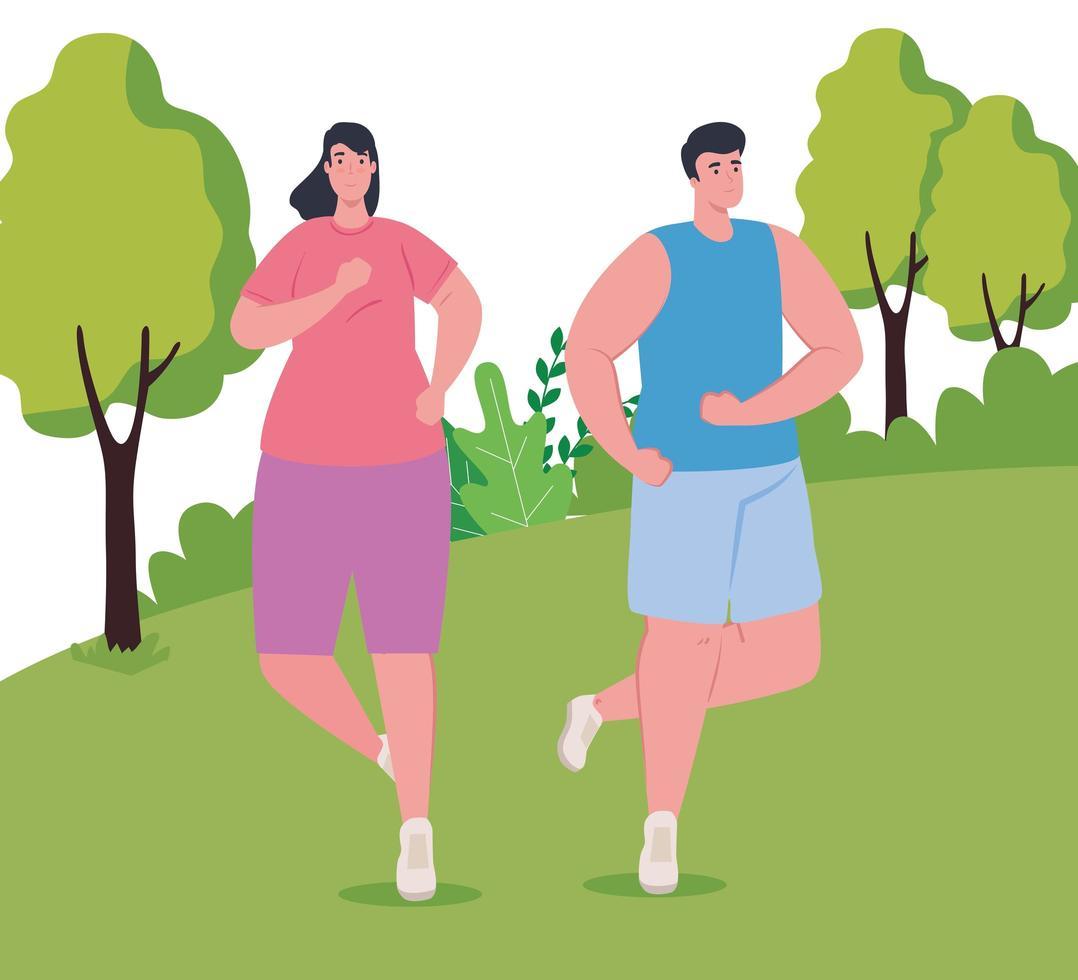 maratonistas corriendo al aire libre vector