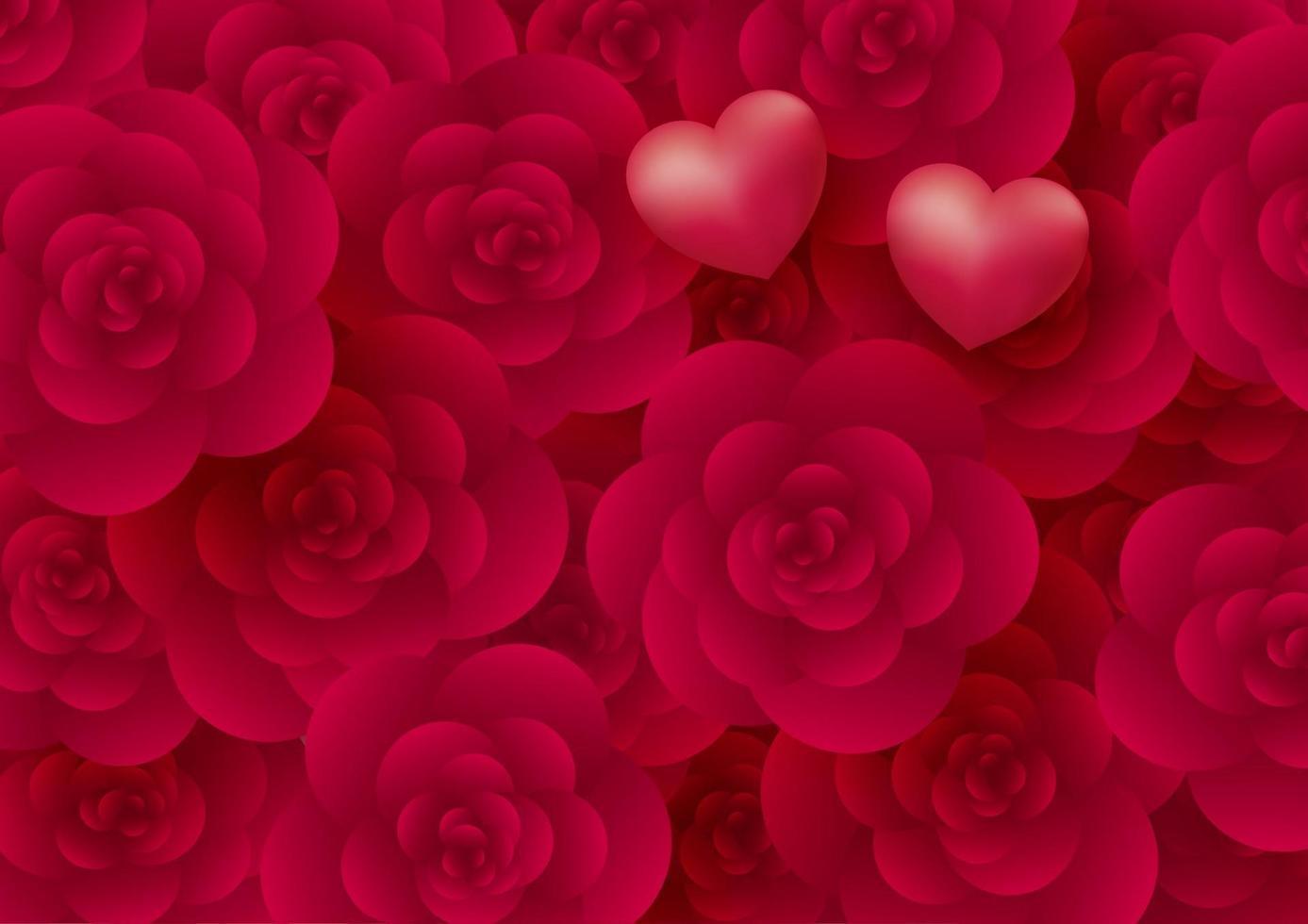 Fondo de flores y corazones color de rosa para la ilustración de vector de día de San Valentín