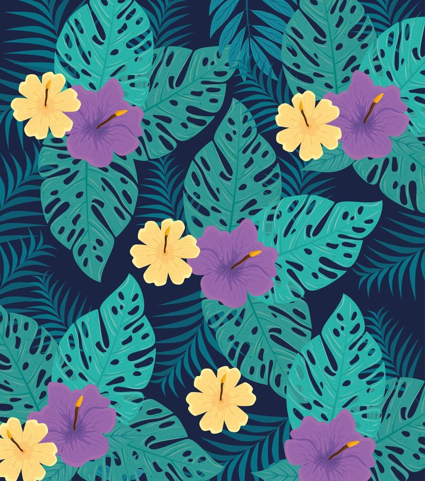 Fondo de follaje tropical con hojas verdes y flores. vector