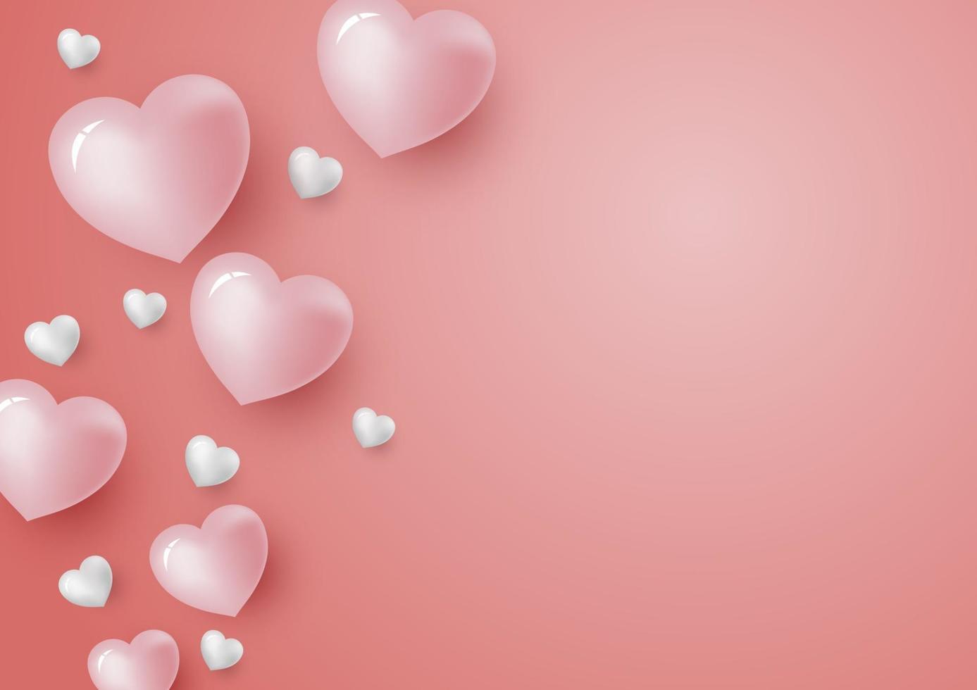 Corazones 3d sobre fondo de color coral para el día de san valentín y la ilustración de vector de tarjeta de boda
