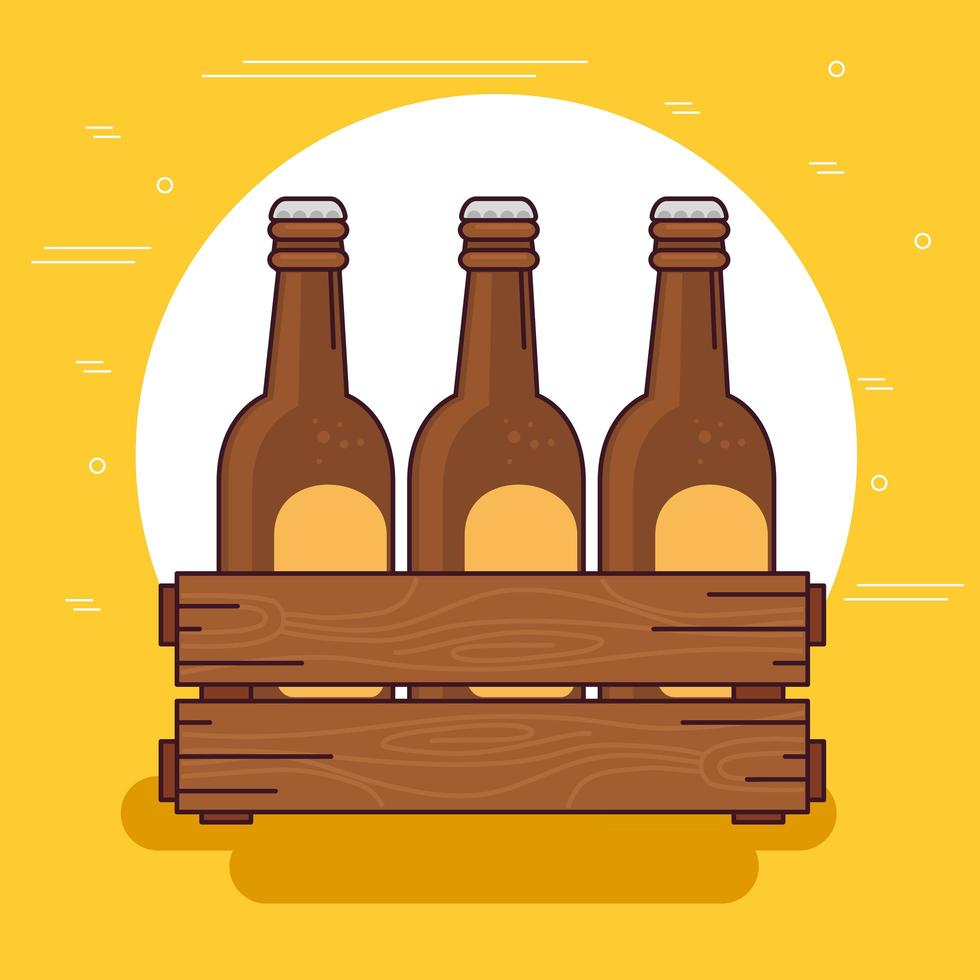 Celebración del día internacional de la cerveza con botellas de cerveza en una caja de madera vector