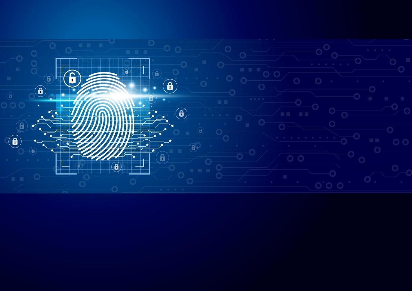 Escáner de huellas digitales digital con ilustración de vector de fondo de tecnología