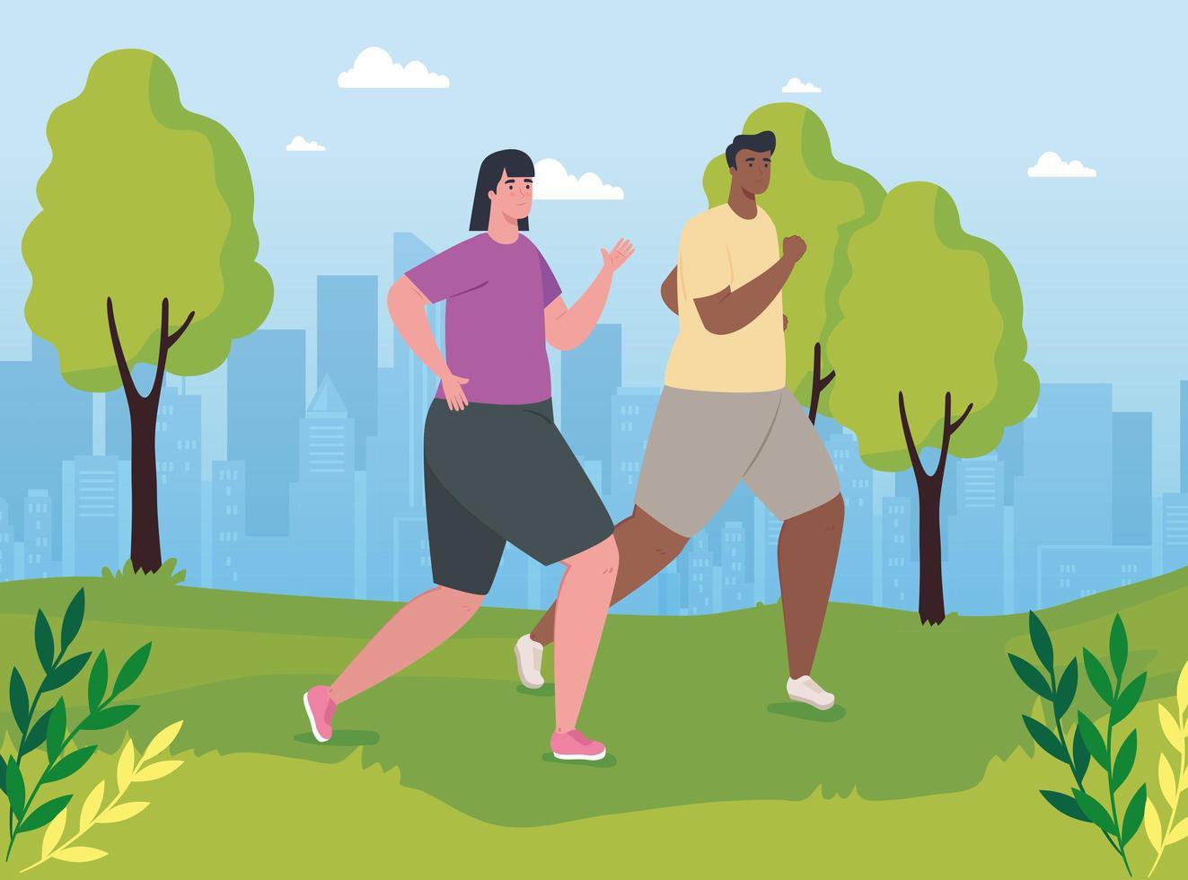 Hombres maratonistas interraciales corriendo al aire libre vector