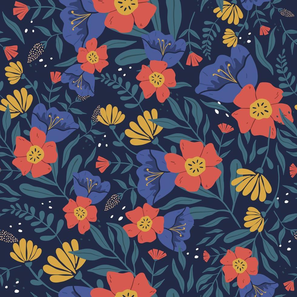 Patrón sin fisuras de coloridas flores tropicales. ilustración vectorial en estilo doodle dibujado a mano. flores y hojas abstractas pintadas a mano. vector