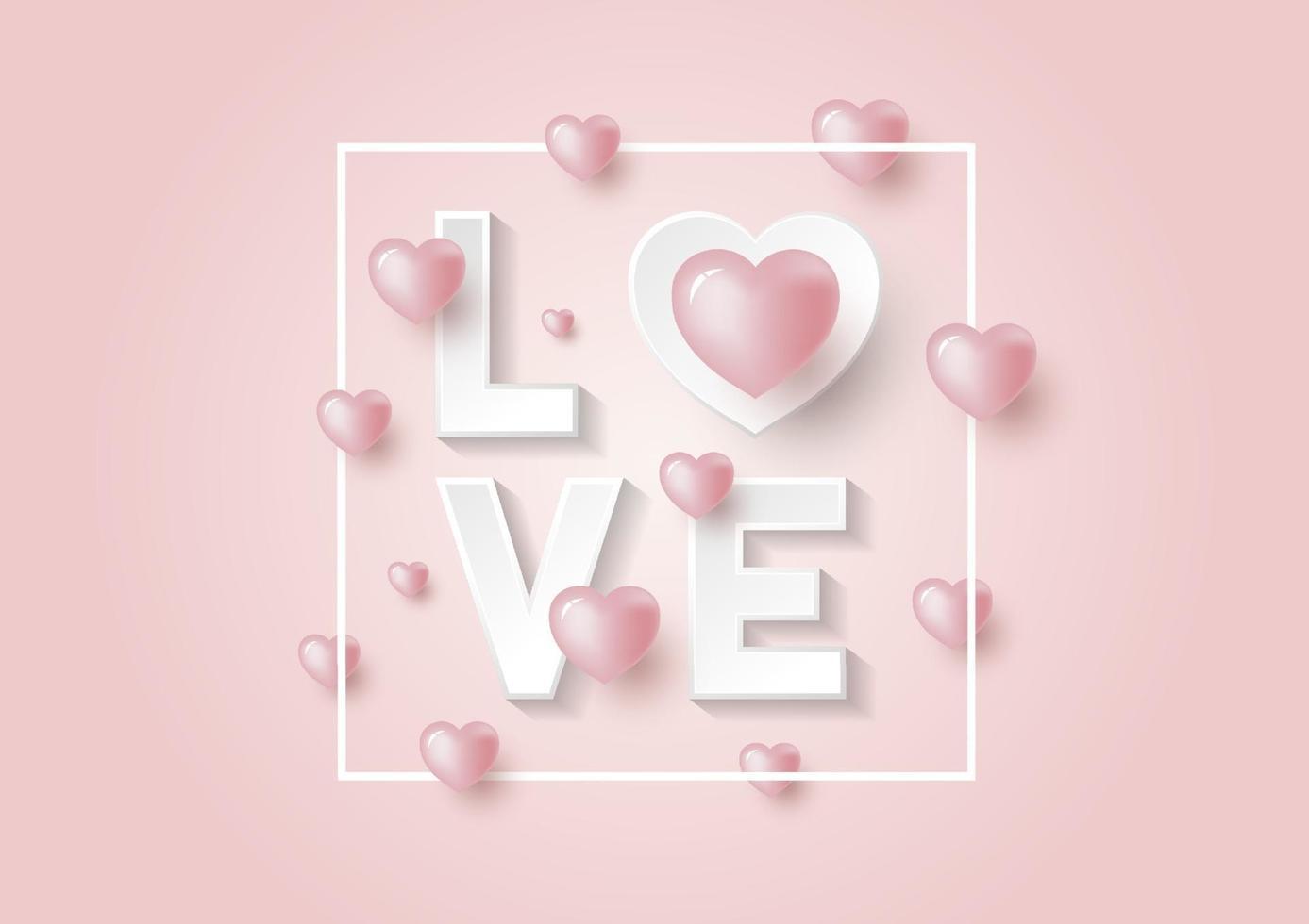 Diseño 3d de amor y corazones sobre fondo rosa para el día de San Valentín y la ilustración de vector de tarjeta de boda