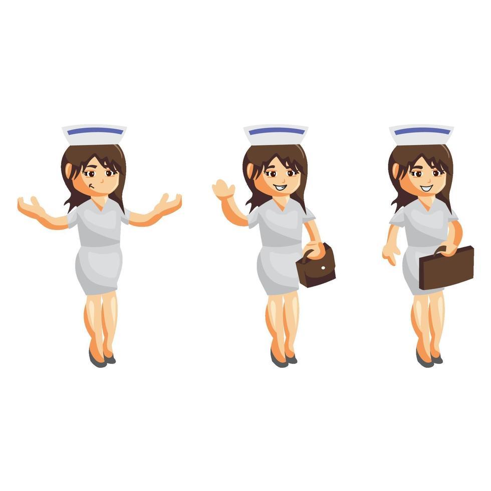enfermera mujer hospital conjunto de caracteres vector