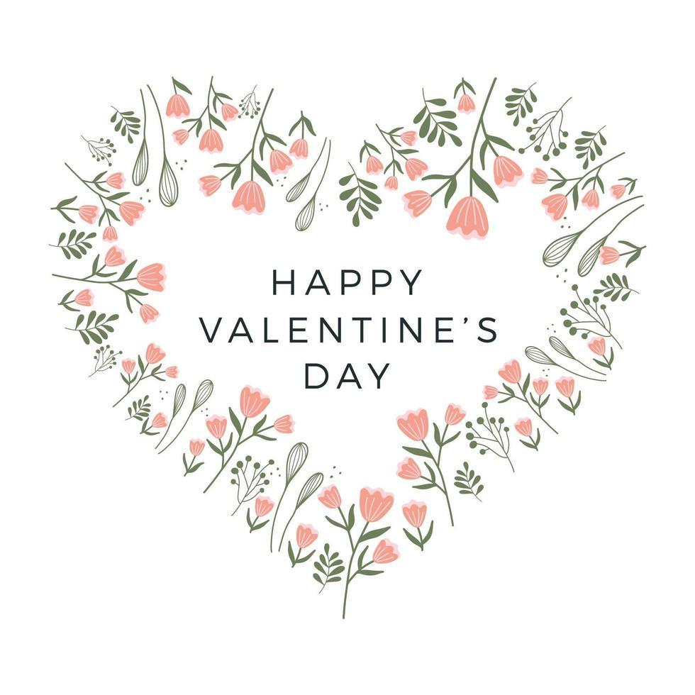 marco de corazón floral feliz día de san valentín. diseño de tarjetas de San Valentín. marco en forma de corazón, vegetación fresca del bosque, plantas, flores, ramas. vector